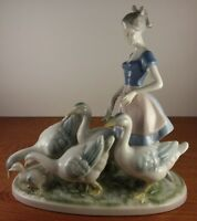 Beautiful Gerold Porzellan Girl With Geese #7048 Figurine Made In Germany