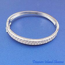 Baby .925 Solid Sterling Silver Bangle Bracelet With Clear CZ Crystals Opens