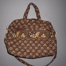 MaggiB Quilted Brown Diaper Bag Tote matching Diaper Changing Pad  EUC!