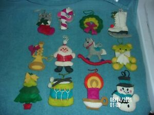 VINTAGE 12 FELT CHRISTMAS ORNMAENT'S SANTA, SNOWMAN, SKATE, TREE MORE