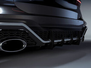 Wide Performance diffuser for Audi RS6 C8 Rear Bumper with ribs / fins