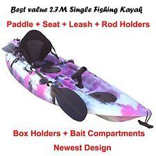 2.7M Fishing Kayak Single Sit-on 5 Rod Holders Padded Seat Paddle Pink Camo