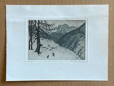 Josef Eidenberger Pencil Signed Color Etching; 'Snowy Mountain Scene' 3.33x8.33