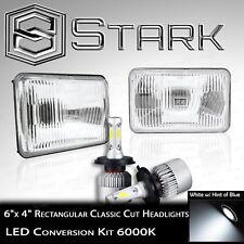 H4651 / H4652 / H4666 / H4656 Head Light Glass Housing Lamp Chrome - 4x6 LED Kit