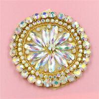 Round AB Rhinestone Apllique Crystal Sewing/Iron on Trim Craft for Wedding Dress