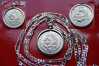 MEXICAN SILVER Eagle & Snake Coin Bezel Pendant on a .925 Sterling Silver Chain