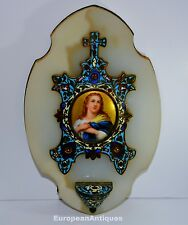 """Antique Enameled Holy Water Font 1800s Brass & Marble French 9.5"""" x 6"""" 2lbs 6ozs"""