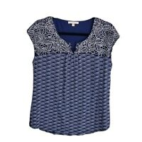 Skies are blue Medium knit top Womens sleeveless embroidered geometric navy blue