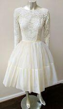 VINTAGE 50s 60s MOD GLAM ROCKABILLY WEDDING LACE CHIFFON FULL SKIRT DRESS S