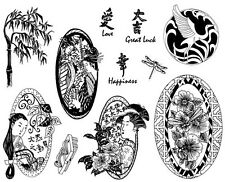 Unmounted Rubber Stamps Sheets,  Asian Women, Good Luck, Bamboo, Geisha, Crane