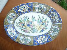 Antiguo gran plato de cerámica decoración pavo real art popular
