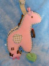 "Gund Baby Pink Corduroy Plush Giraffe Activity Toy Chime Rattle 59183 9"""