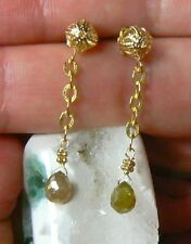 RARE NATURAL FACETED CHAMPAGNE DIAMOND BRIOLETTE TEARDROP 14K GOLD EARRINGS