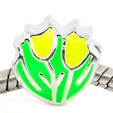 Spring Flowers Yellow Green Enamel Tulip Bead for Silver European Charm Bracelet