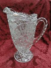 """Pressed Glass Pitcher with Curved Pattern AS IS, 9"""""""