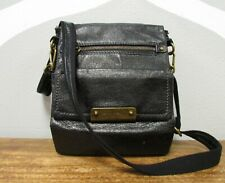 THE SAK Black Leather Fold Over Messenger Crossbody Flap Shoulder Bag Satchel