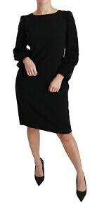 DOLCE & GABBANA Dress Black Floral Lace Sheath Gown IT48 / US12 / XL