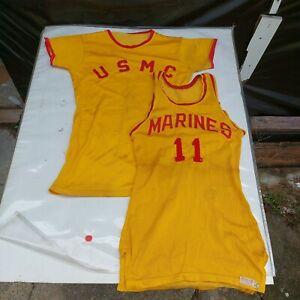 RARE ~NAMED 1950s VINTAGE USMC Basketball Boxing Jersey & Shirt UNIFORM Stitched