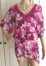 NEW EX PER UNA PINK BLACK & CREAM FLORAL KAFTAN TUNIC TOP SUMMER SIZE 8 - 20