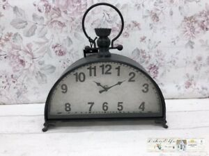 Decor Clock Floor half Circle Round Shabby Decoration Vintage Country House