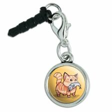 Kawaii Cute Cat with Fish in Mouth Mobile Cell Phone Headphone Jack Charm