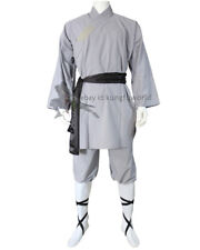 Gray Cotton Shaolin Kung fu Uniform Tai chi Suit Martial arts Wushu Monk Robe