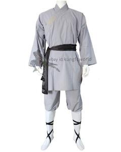 Gray Cotton Shaolin Kung fu Uniform Tai chi Suit Martial arts Wushu Monk Robe