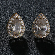 14k Gold Filled Simulated Diamond Solitaire Large Teardrop Earrings Bridal Jewel