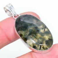 """Prehnite Gemstone Ethnic Handmade Gift Jewelry Pendant 1.97"""" JH"""