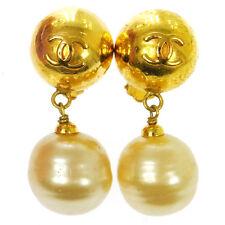 "Authentic CHANEL Vintage CC Logos Imitation Pearl Earrings 0.8 - 2.0 "" AK13136"