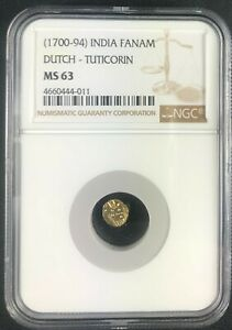 1700-94 India Gold Fanam. Dutch-Tuticorin. NGC MS 63, 011