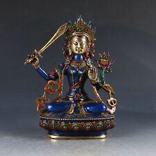 Chinese Cloisonne Brass Handwork Carved Buddha Statue -- Bodhisattva Manjusri