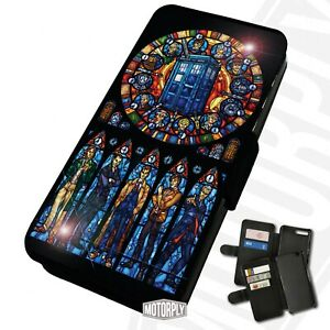 Printed Faux Leather Flip Phone Case For Samsung - Dr Who Stained Glass - Gift