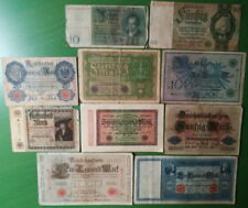 Germany lot 10 banknotes 1908-1924. VG.