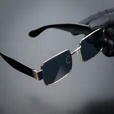 Mens Rectangle Sunglasses Gold Vintage Hip Hop Fashion Square Luxury Glasses