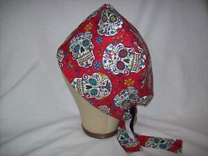 Men/Women Surgical Scrub Cap Lined Sugar Skulls Red Day of The Dead 100% Cotton