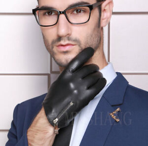 man side zipper whole piece of real Italy leather short gloves black