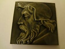 Antique MAW Benthall fireplace portrait tile man green Michelangelo ? 6 x 6 ""