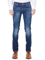 Nudie Herren Slim Fit Stretch Jeans Hose Dunkel Blau | Grim Tim Cold Crisp
