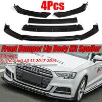 4PCs Gloss Front Bumper Lip Body Kit Spoiler Splitter For Audi A3 S3 2017-2019