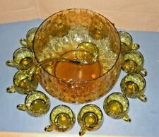 MURANO ITALY 1960'S HAND BLOWN GLASS GREEN PUNCH BOWL SET 12 CUPS LADLE MARKED