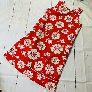Lands End  Girls Sleeveless  Red Hawaiian Flower Cotton Dress Size 16