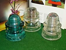 Vintage Antique Hemingray No 45-19- 20 Telephone Pole Clear GLASS Insulators