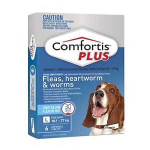 Comfortis Plus (Panoramis) for Dogs Flea & Worm Tablets 18.1-27kg - Blue 6 Pack