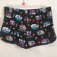 Secret Treasures Womens pajama shorts size Small (406) Black Soot Flamingo new