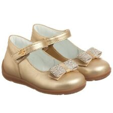 MISS BLUMARINE BABY GIRLS GOLD DIAMANTE SHOES EU 22 UK 5