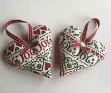 1 CHRISTMAS HEART Emma Bridgewater JOY fabric Red or Green  Linen Ribbon
