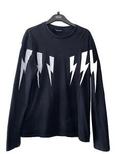 Neil Barrett Black Bolt Long Sleeve T Shirt - Mens Size Large M RRP £225