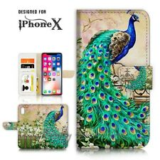 ( For iPhone X ) Wallet Case Cover P21436 Peacock