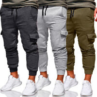 Men's Slim Fit Urban Straight Leg Trousers Work Casual Pencil Jogger Cargo Pants